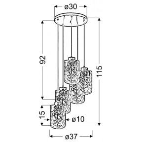 Lampy-sufitowe - pięciopunktowa lampa wisząca chromowa - talerz 5x40w e27 nocturno 35-57730 candellux