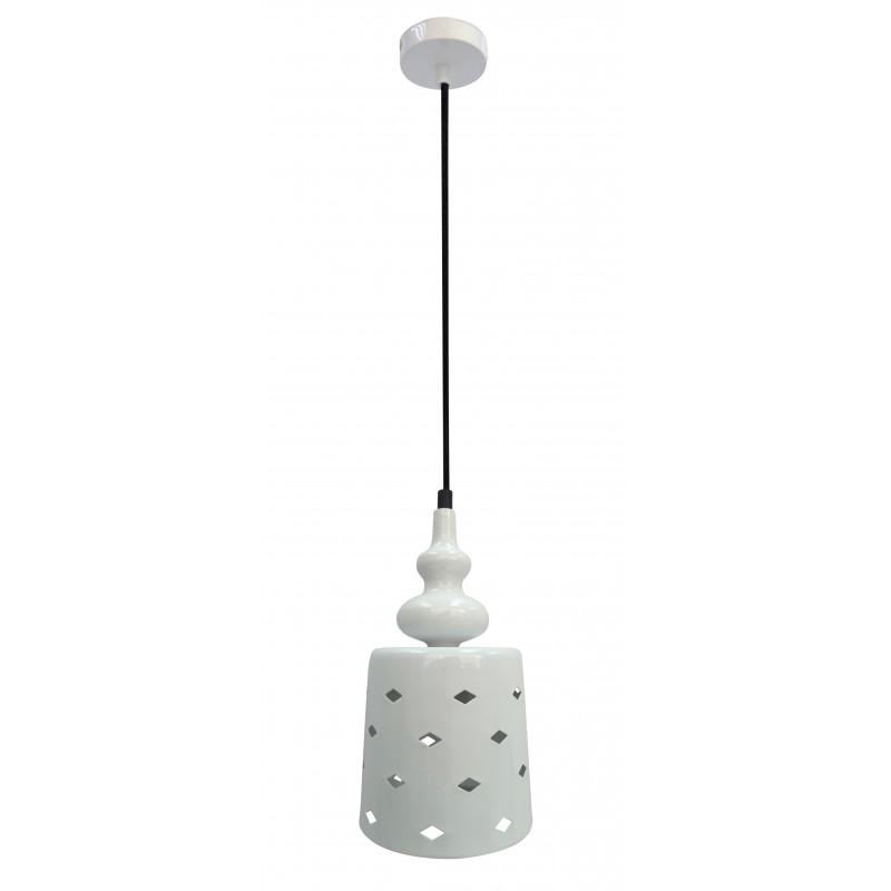 Lampy-sufitowe - lampa wisząca pojedyncza biała 15/26 1x60w e27 hamp 31-51905 candellux firmy Candellux
