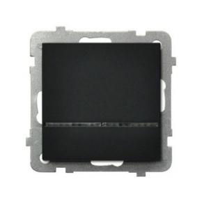 Czarny włącznik jednobiegunowy z podświetleniem pomarańczowym ŁP-1RS/M SONATA Ospel