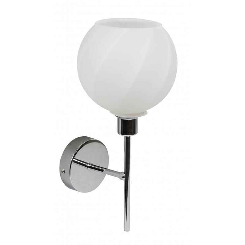 Kinkiety - kinkiet chromowo - biały ze szklanym kloszem 1x40w e14 raul 21-72191 candellux firmy Candellux