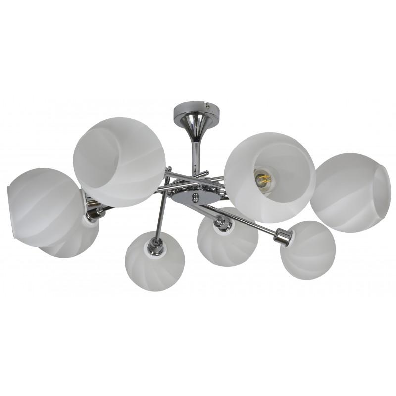 Lampy-sufitowe - ośmioramienna lampa wisząca biało-chromowa 8x40w e14 raul 38-72290 candellux firmy Candellux