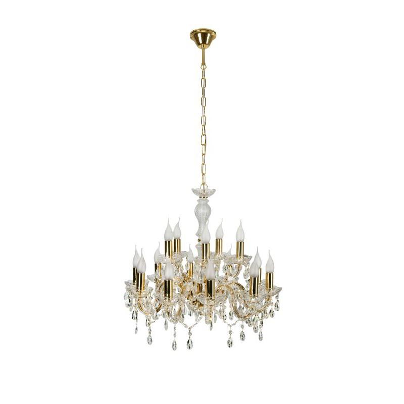 Lampy-sufitowe - złota lampa wisząca z kryształowymi zdobieniami 15xe14 40w maria teresa 30-95810 candellux firmy Candellux