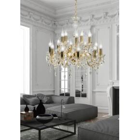 Lampy-sufitowe - złota lampa wisząca z kryształowymi zdobieniami 15xe14 40w maria teresa 30-95810 candellux