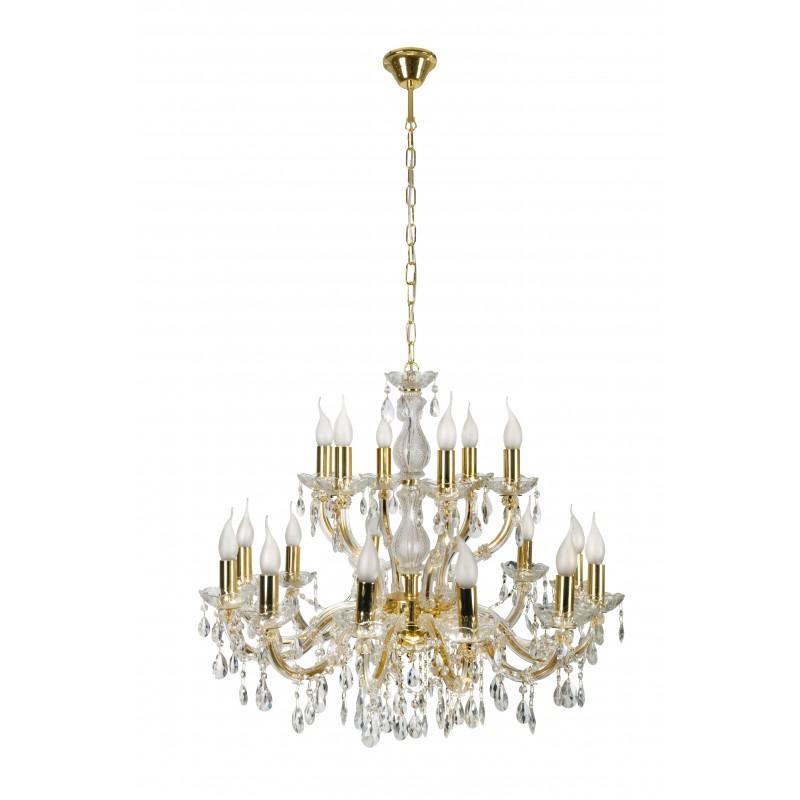 Lampy-sufitowe - lampa wisząca sufitowa złota na 18 żarówek e14 40w maria teresa 30-94615 candellux firmy Candellux