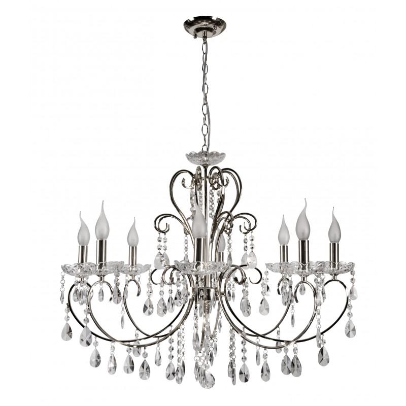 Lampy-sufitowe - lampa wisząca chrom na 8 żarówek 8*40w e14 aurora 38-97579 candellux firmy Candellux