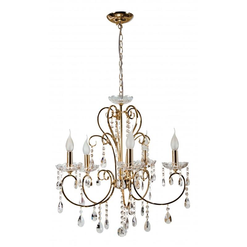 Lampy-sufitowe - złota, pięcioramienna lampa wisząca 5*40w e14 aurora 35-08575 candellux firmy Candellux