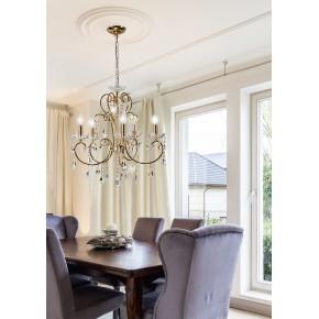 Lampy-sufitowe - złota, pięcioramienna lampa wisząca 5*40w e14 aurora 35-08575 candellux