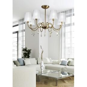Lampy-sufitowe - ekskluzywna lampa wisząca biało-złota 8x40w e14 sorento 38-38159 candellux