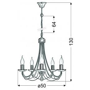 Lampy-sufitowe - bankietowy żyrandol na 5 żarówek e14 muza 35-69170 candellux