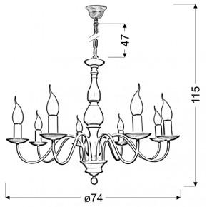 Lampy-sufitowe - kremowa lampa wisząca ośmioramienna 8x40w e14 bellagio 38-96510 candellux