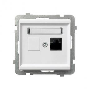 Białe gniazdo sieciowe pojedyncze RJ45 kat. 5e MMC GPK-1R/K/M SONATA Ospel