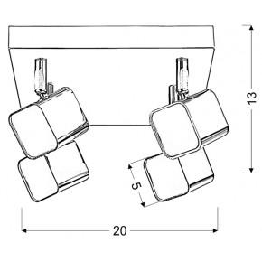 Lampy-sufitowe - chromowy plafon o wbudowanym źródle światła 4x4w led forma 98-62062 candellux