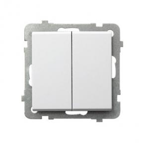 Biały włącznik dwugrupowy świecznikowy ŁP-2R/M SONATA Ospel