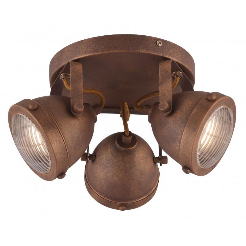 Oprawy-sufitowe - loftowa lampa sufitowa plafon potrójny rdzawy na żarówki gu10 3x40w frodo 98-71095 candellux firmy Candellux