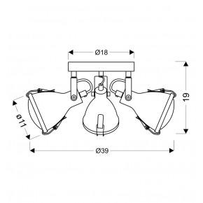 Oprawy-sufitowe - szara lampa sufitowa spot potrójny 3xe14 40w crodo 98-71132 candellux