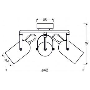 Lampy-sufitowe - szara lampa sufitowa spirala 3x40w e14 gray 98-66497 candellux