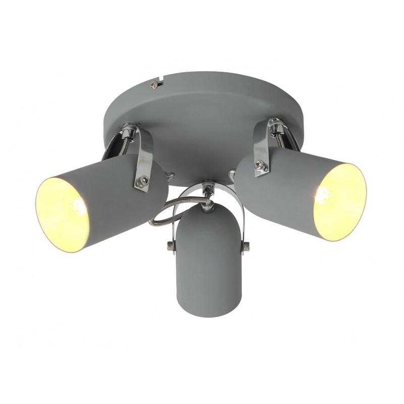 Lampy-sufitowe - lampa sufitowa szara trzypunktowa 3x40w e14 gray 98-66503 candellux firmy Candellux