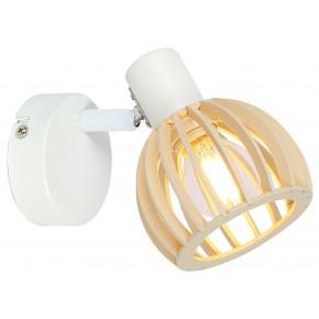 ATARRI LAMPA KINKIET 1X25W E14 BIAŁY+DREWNO