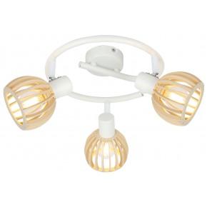 Lampy-sufitowe - lampa sufitowa spirala 3x25w e14 biały+drewno 98-68125 candellux