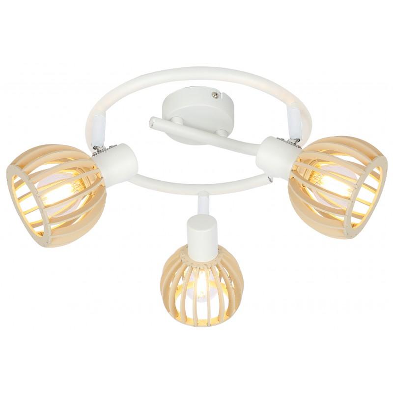 Lampy-sufitowe - lampa sufitowa spirala 3x25w e14 biały+drewno 98-68125 candellux firmy Candellux