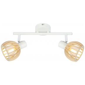 ATARRI LAMPA SUFITOWA LISTWA 2X25W E14 BIAŁY+DREWNO