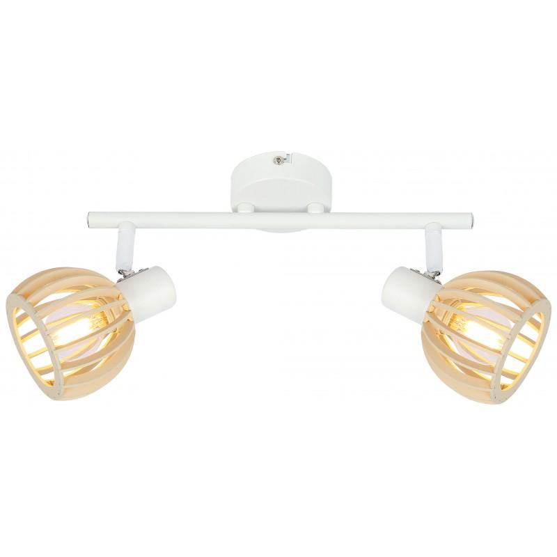 Lampy-sufitowe - oprawa ścienno-sufitowa biała z drewnianym kloszem 92-68088 atarri candellux firmy Candellux