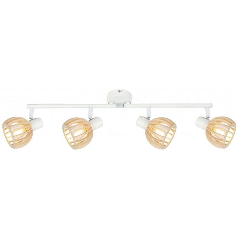 Lampy-sufitowe - lampa sufitowa listwa 4x25w e14 biały+drewno atarri 94-68101 candellux firmy Candellux