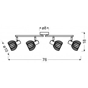 Lampy-sufitowe - lampa sufitowa listwa 4x25w e14 biały+drewno atarri 94-68101 candellux