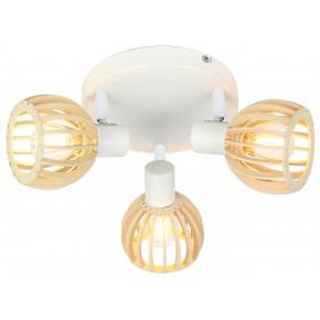 ATARRI LAMPA SUFITOWA PLAFON 3X25W E14 BIAŁY+DREWNO