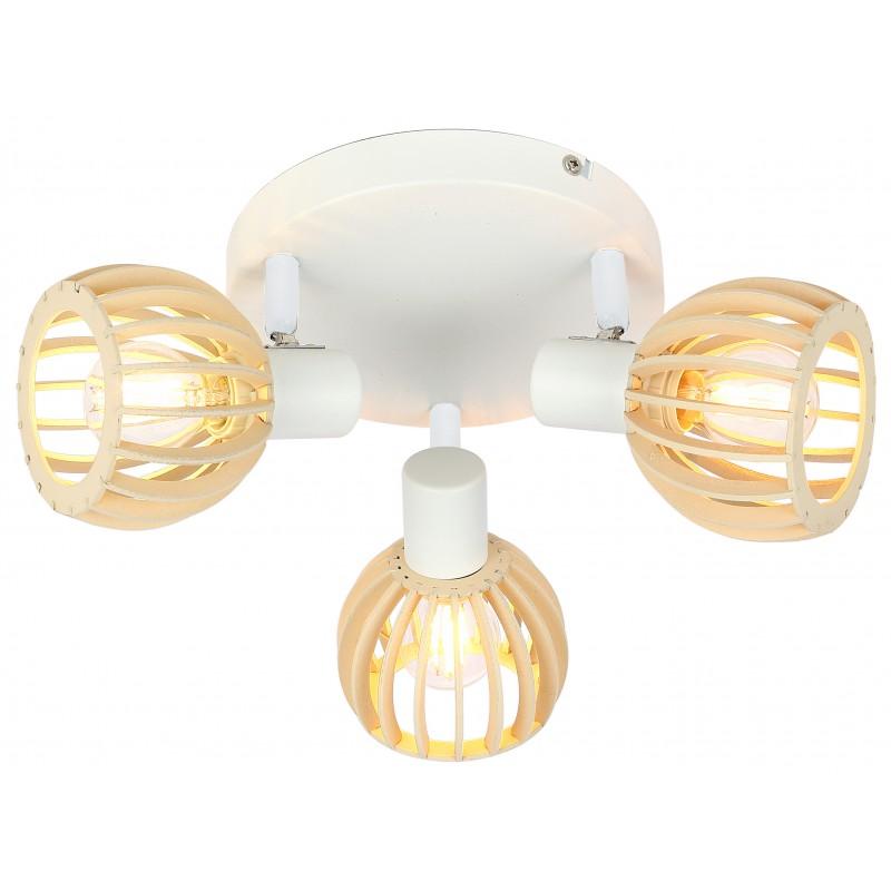 Lampy-sufitowe - biała oprawa sufitowa drewniane klosze 3xe14 98-68118 atarii candelux firmy Candellux