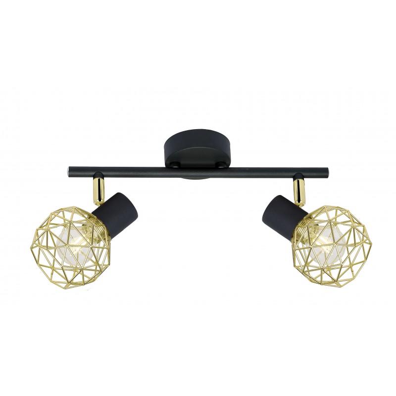 Kinkiety - lampa sufitowa z podwójnym kloszem w kolorze czarno-złotym e14 92-66336 acrobat candellux firmy Candellux