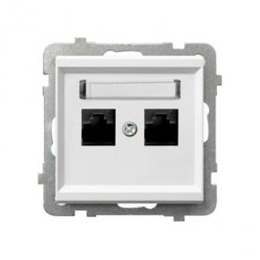 Białe gniazdo komputerowe podwójne RJ45 kat 5e MMC GPK-2R/K/M SONATA Ospel