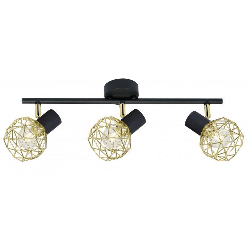 Kinkiety - lampa ścienno-sufitowa listwa z potrójnym kloszem e14 czarny/złoty acrobat 93-66640 candellux firmy Candellux