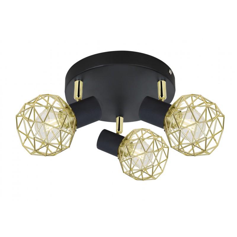 Lampy-sufitowe - lampa sufitowa spot potrójny czarny/złoty 3xe14 98-66466 acrobat candellux firmy Candellux