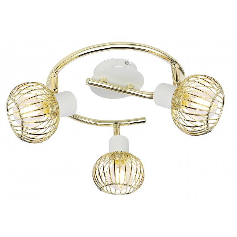 Lampy-sufitowe - biało-złota lampa sufitowa spirala na 3 żarówki e14 98-61829 oslo candellux firmy Candellux
