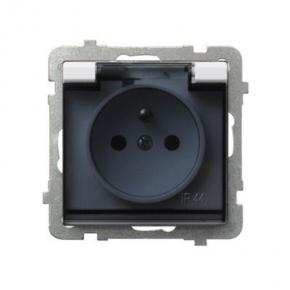 Gniazdo bryzgoszczelne z uziemieniem IP-44 wieczko przezroczyste kolor:ECRU GPH-1RZ/M/27/D SONATA Ospel