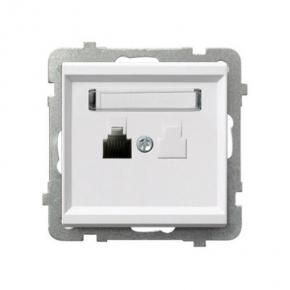 Białe gniazdo telefoniczne pojedyncze RJ12 GPT-1R/M SONATA Ospel