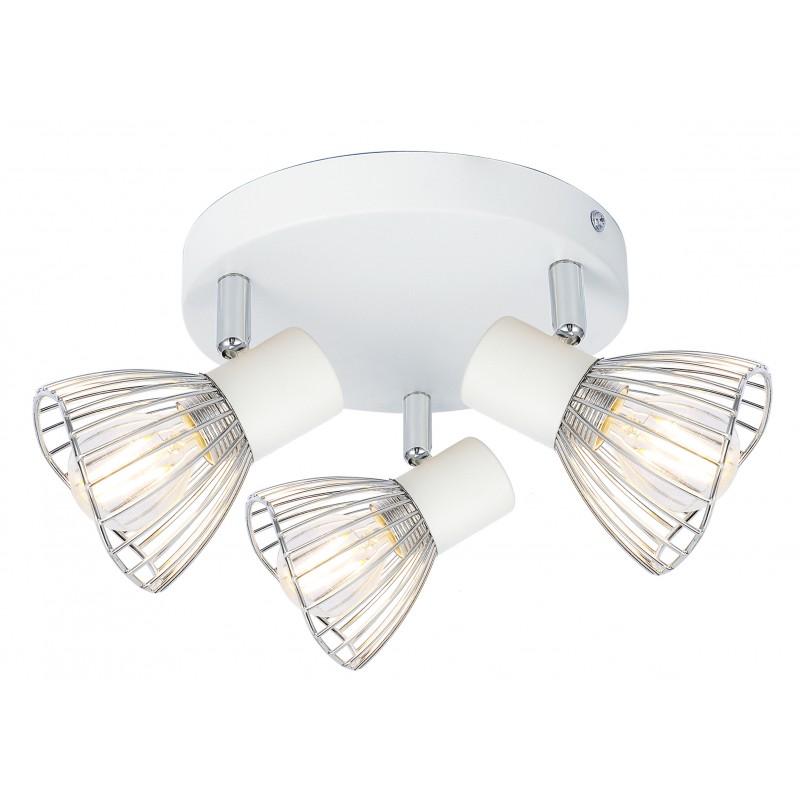 Lampy-sufitowe - delikatny plafon w kolorze biało chromowym 3x40w e14 fly 98-61980 candellux firmy Candellux