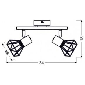 Lampy-sufitowe - lampa ścienna listwa czarno - złota 2x40w e14 verve 92-63175 candellux