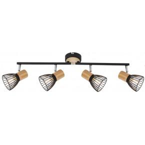 Lampy-sufitowe - lampa sufitowa listwa industrial plus drewno 4xe14 94-61201 antica candellux