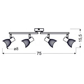 Lampy-sufitowe - listwa sufitowa z obrotowymi ramionkami 4x25w e14 chile 94-61645 candellux