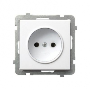 Białe gniazdo wtyczkowe bez uziemienia pojedyncze SONATA GP-1R/M/00 Ospel