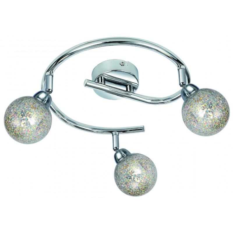 Lampy-sufitowe - lampa sufitowa na 3 żarówki w gwiadki g9 3x4w chrom kaleidoscope 98-61577 spirala candellux firmy Candellux
