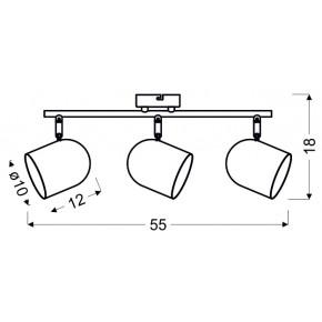 Lampy-sufitowe - szaro matowy spot oświetleniowy 3x40w e27 azuro 93-63229 candellux
