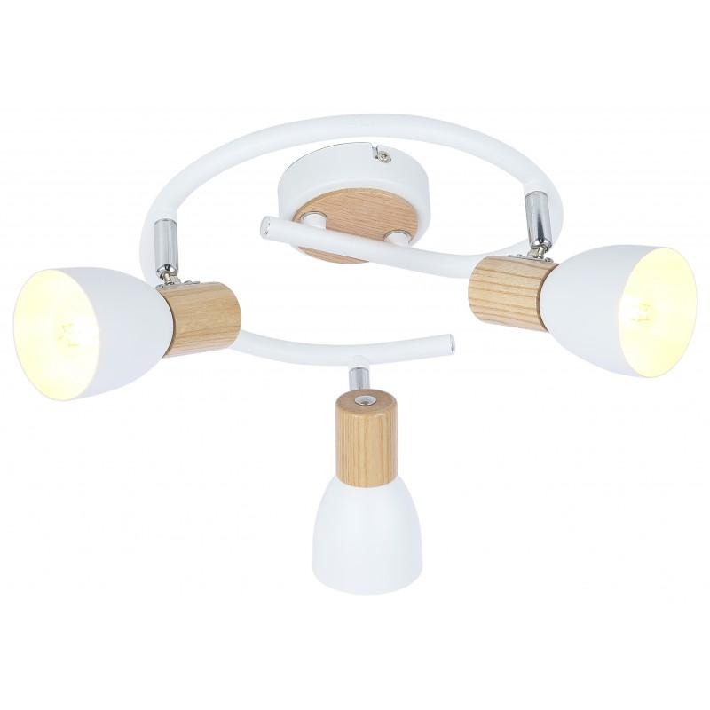 Lampy-sufitowe - potrójna lampa sufitowa biała z dodatkiem drewna e14 3x25w spirala anabel 98-61690 candellux firmy Candellux