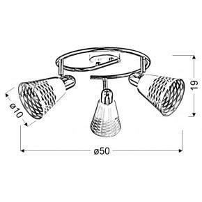 Lampy-sufitowe - potrójna lampa sufitowa w kolorze białym z chromowaną podstawą 3xe14 40w discovery 98-62185 candellux