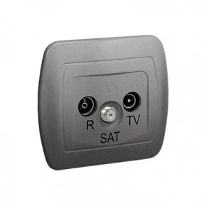 Srebrne gniazdo antenowe R-TV-SAT AAS/26 Simon Akord Kontakt-Simon