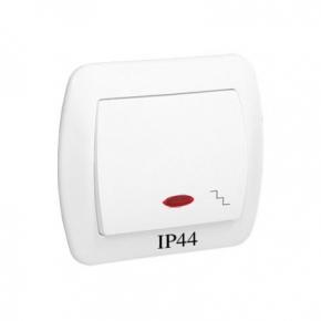 Biały włącznik schodowy z podświetleniem bryzgoszczelny IP44 AW6BL/11 Simon Akord Kontakt-Simon