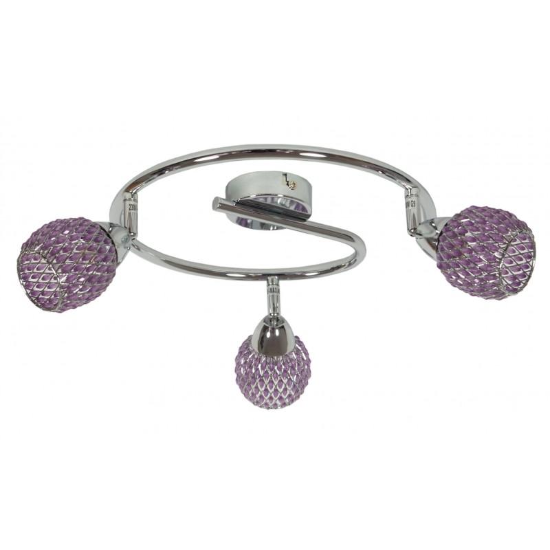 Lampy-sufitowe - fioletowa lampa sufitowa na trzy żarówki g9 40w clear 98-06936 candellux firmy Candellux