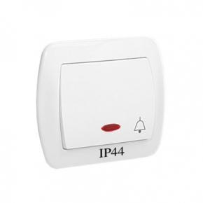 Biały przycisk dzwonek z podświetleniem bryzgoszczelny AD1BL/11 Simon Akord Kontakt Simon